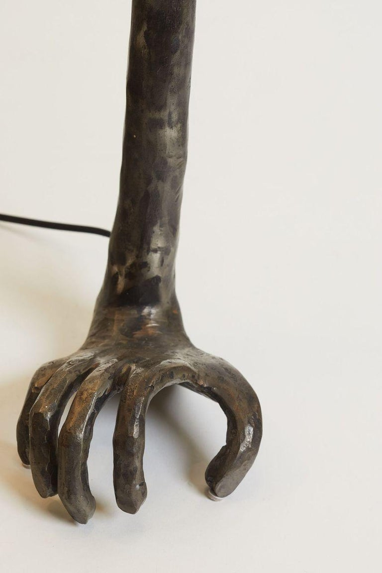 European 1980s French Unique Bronze Hand and Foot Design Signed Pair of Lamps For Sale