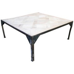 1980s French Wood Top on Rectangular Iron Base Industrial Styled Coffee Table