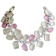 1980s Frosted Rhinestone Choker Necklace