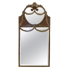 1980s Full-Length Wood and Silver Mirror