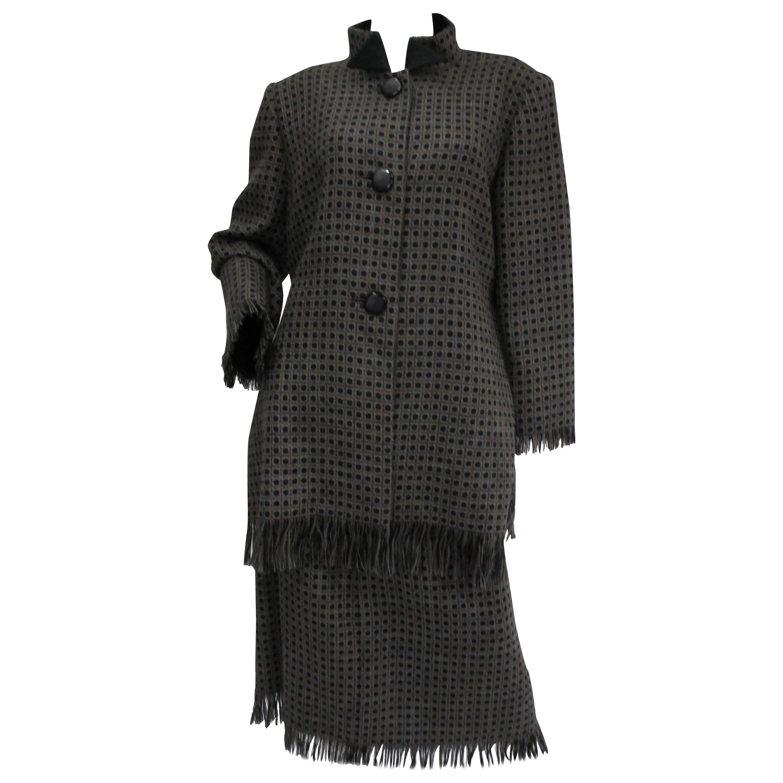 1980s Galanos Grey Wool Check Skirt and Coat Ensemble