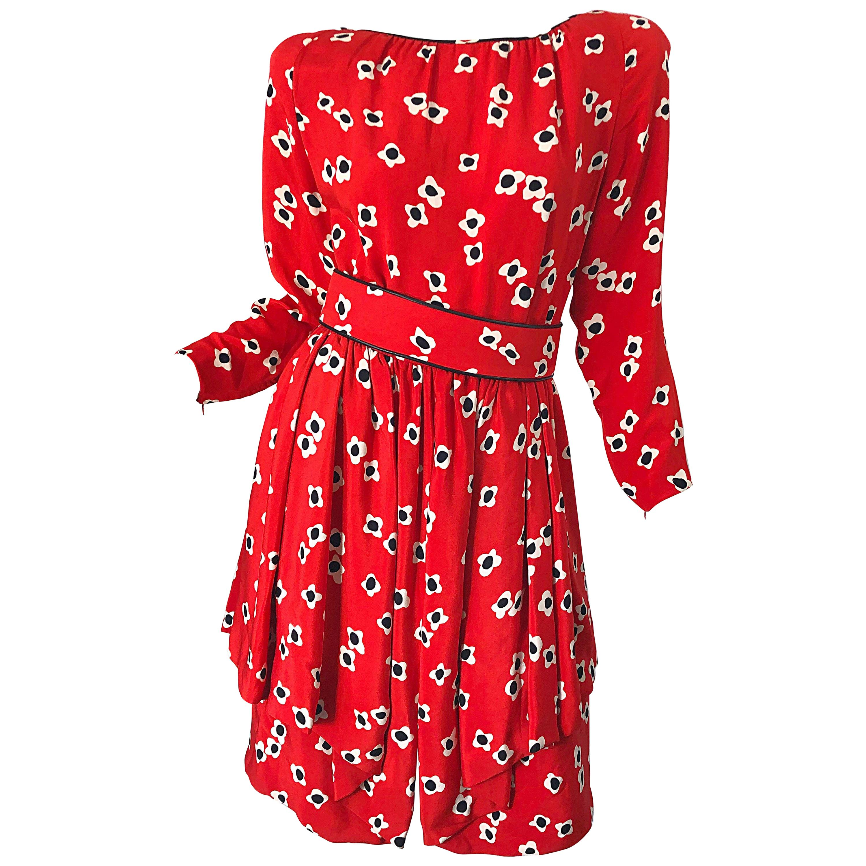 1980s Galanos Lipstick Red Poppy Print Silk Strong Shoulder Vintage 80s Dress