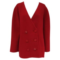 1980s Galanos Red Wool Round Shoulder Coat with Oversized Double Breast Buttons