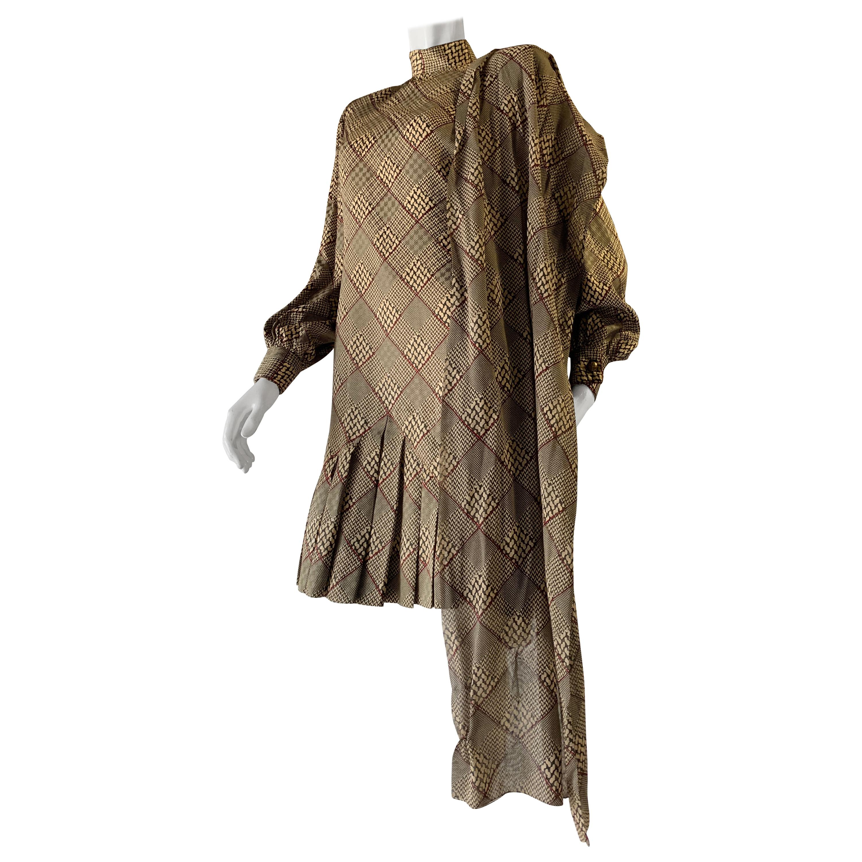1980s Galanos Silk Dress in a Hounds Tooth Plaid W/ Matching Wool Jacket & Scarf