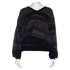 1980S GALTRUCCO Heather Grey & Black Burgundy Stripe Jacquard Knit Sweater