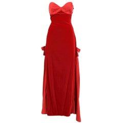 1980s Gambaretto Red Velvet Dress