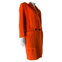 1980s Genny by Gianni Versace Vivid Orange Wool Overcoat W/ Strong Shoulders