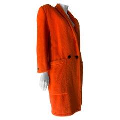 1980s Genny by Gianni Versace Vivid Orange Wool Overcoat W/ Strong Shoulders