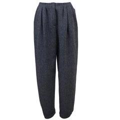1980s Geoffrey Beene Black and Grey Houndstooth Wool Pants