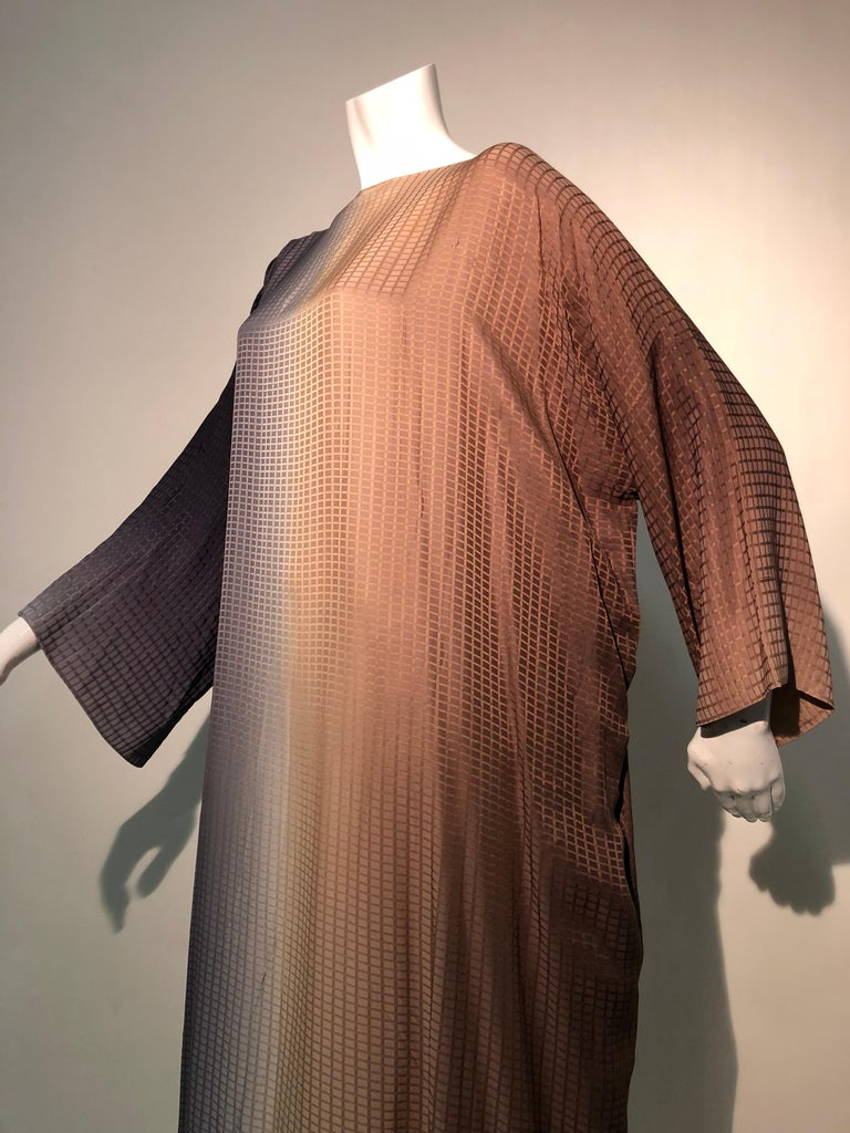 1980s Geoffrey Beene Gray & Sienna Ombré Caftan Embellished By Torso Creations For Sale 6