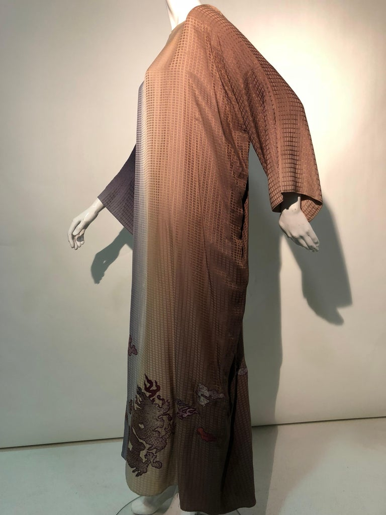 1980s Geoffrey Beene Gray & Sienna Ombré Caftan Embellished By Torso Creations For Sale 9