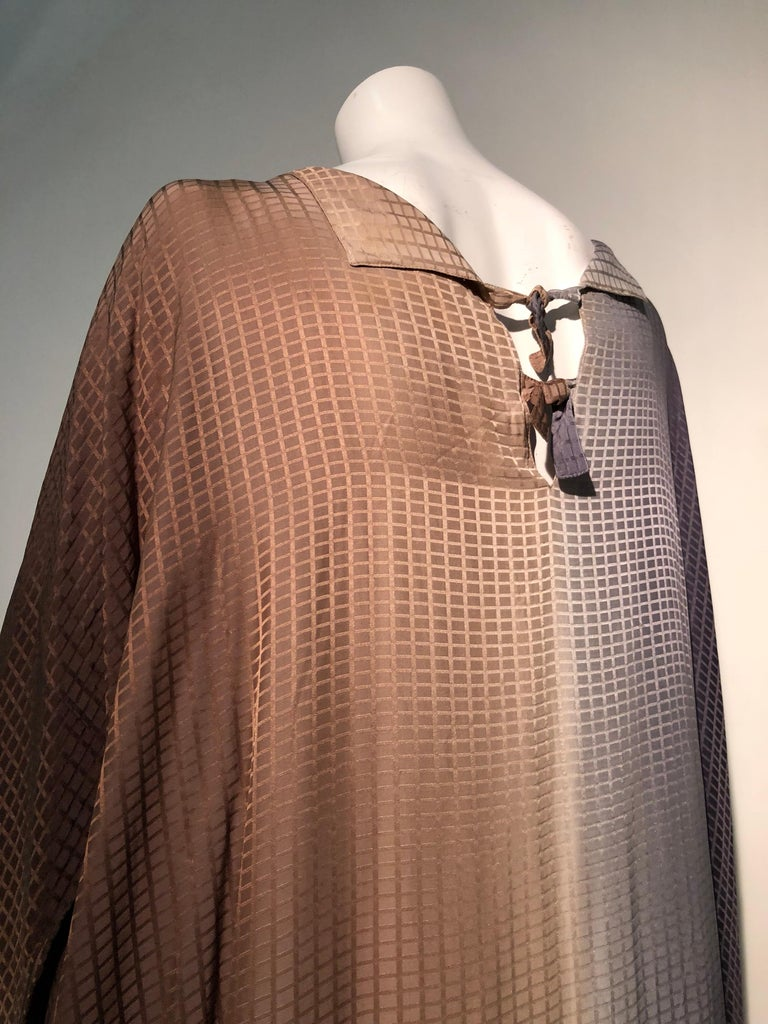 1980s Geoffrey Beene Gray & Sienna Ombré Caftan Embellished By Torso Creations For Sale 11