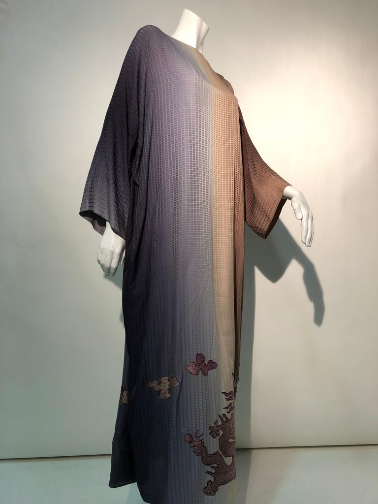 1980s Geoffrey Beene Gray & Sienna Ombré Caftan Embellished By Torso Creations For Sale 13