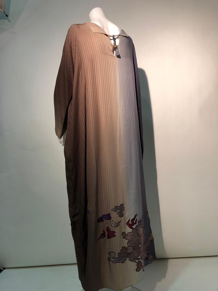 1980s Geoffrey Beene Gray & Sienna Ombré Caftan Embellished By Torso Creations In Excellent Condition For Sale In San Francisco, CA