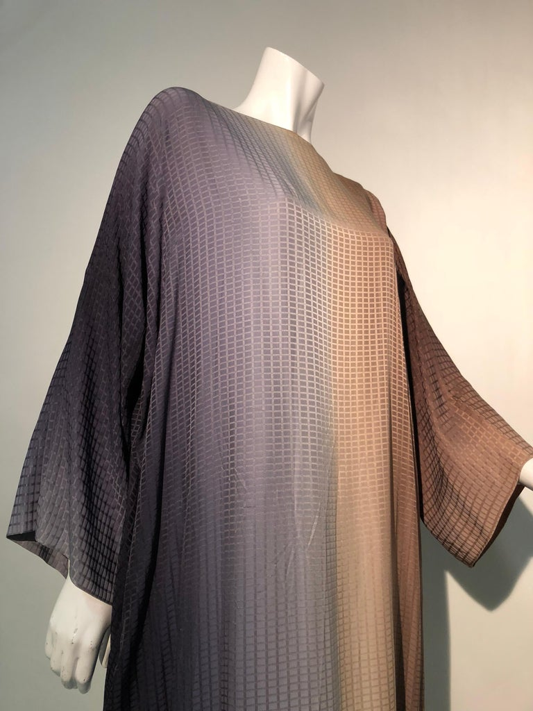 1980s Geoffrey Beene Gray & Sienna Ombré Caftan Embellished By Torso Creations For Sale 2