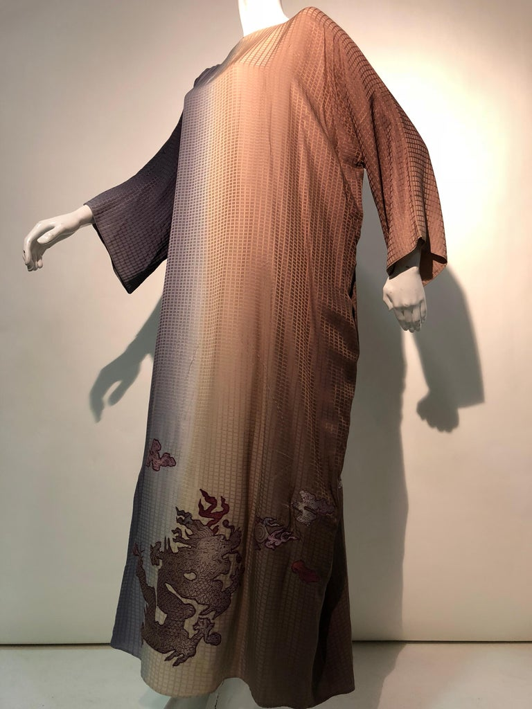 1980s Geoffrey Beene Gray & Sienna Ombré Caftan Embellished By Torso Creations For Sale 5