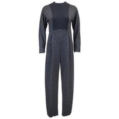 1980s Geoffrey Beene Grey Long Sleeve Jumpsuit