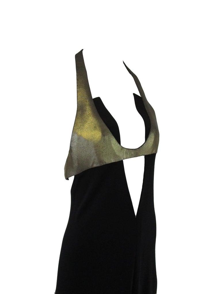 1980s Geoffrey Beene Silk Knit Gold and Black Halter Evening Dress  In Excellent Condition In Houston, TX