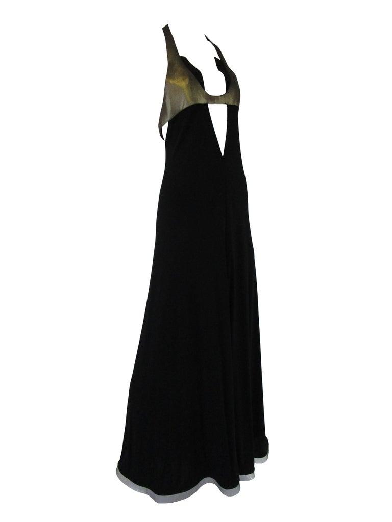 Women's  1980s Geoffrey Beene Silk Knit Gold and Black Halter Evening Dress