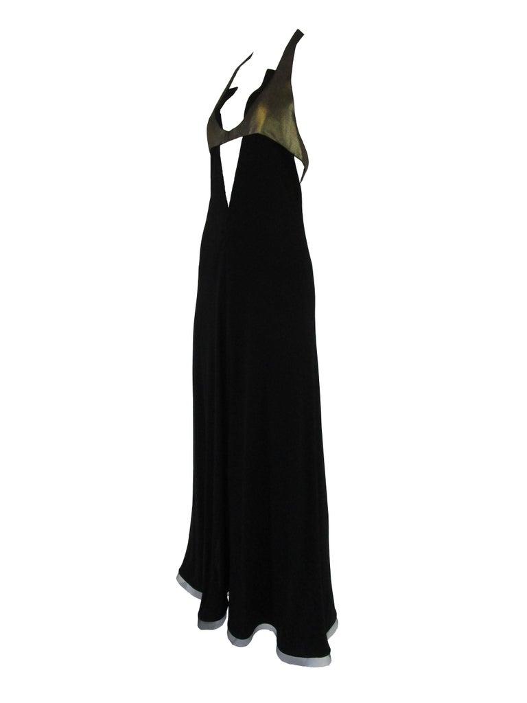 1980s Geoffrey Beene Silk Knit Gold and Black Halter Evening Dress  1