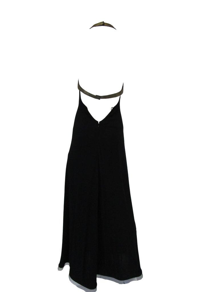 1980s Geoffrey Beene Silk Knit Gold and Black Halter Evening Dress  2