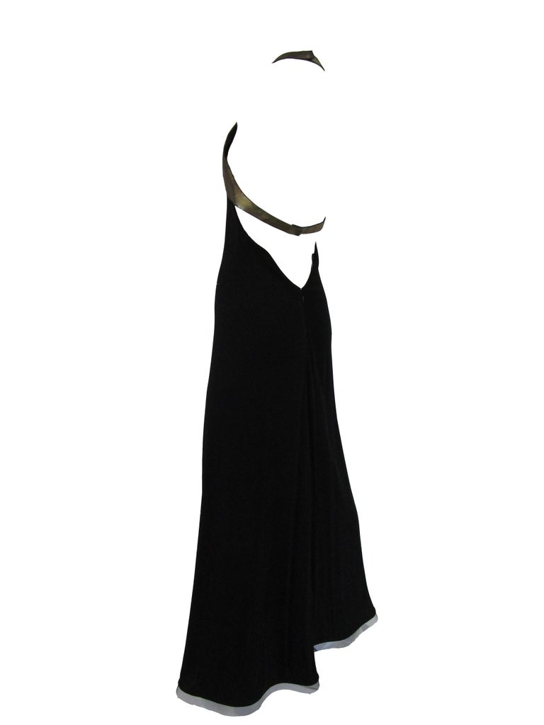 1980s Geoffrey Beene Silk Knit Gold and Black Halter Evening Dress  3