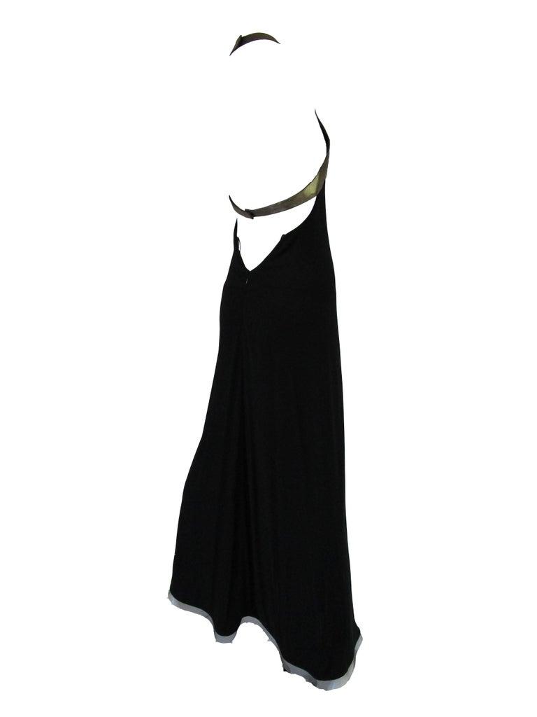 1980s Geoffrey Beene Silk Knit Gold and Black Halter Evening Dress  4