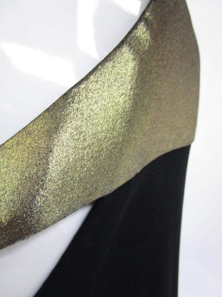 1980s Geoffrey Beene Silk Knit Gold and Black Halter Evening Dress  5