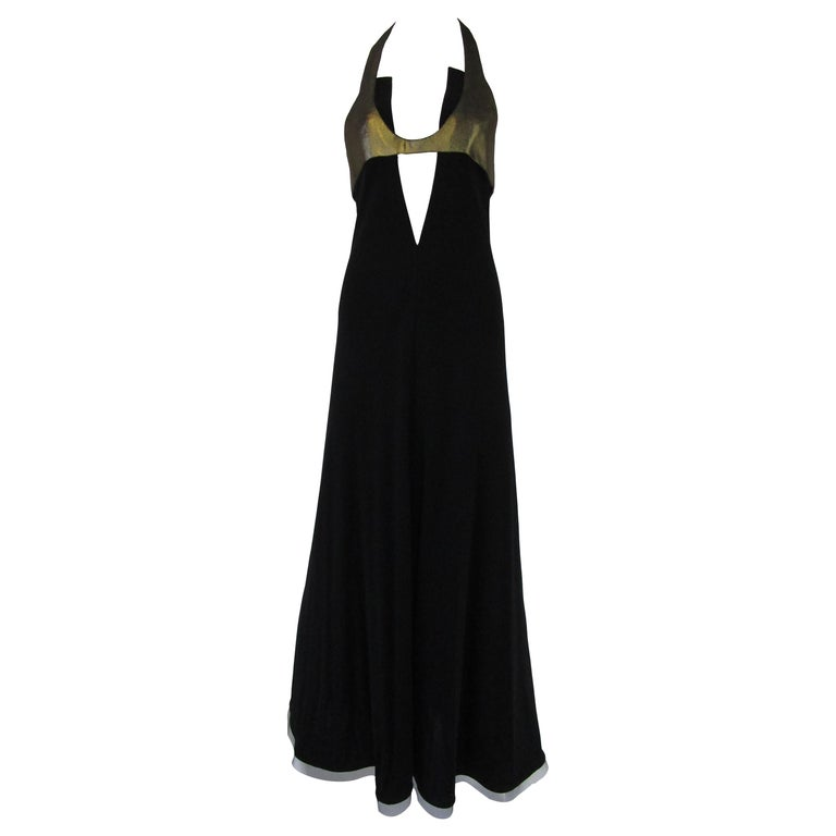 1980s Geoffrey Beene Silk Knit Gold and Black Halter Evening Dress