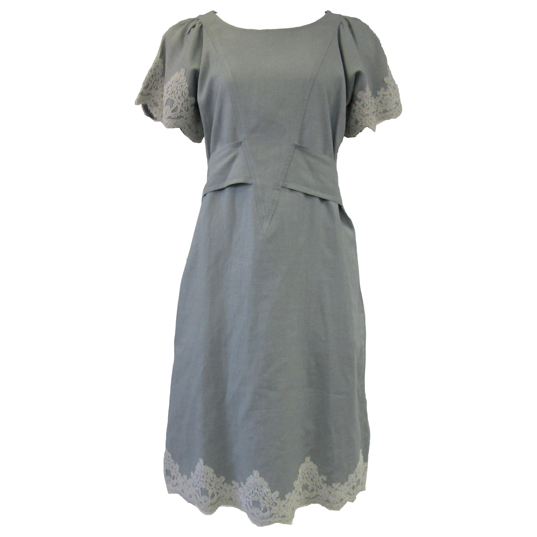 1980s Geoffrey Beene Slate Blue Linen & Lace Dress