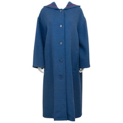 1980s Geoffrey Beene Teal Blue, Rose Trimmed Wool Coat with Hood