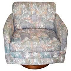 1980s Geometric Pastel Upholstered Swivel Armchair on Round Plinth Wood Base