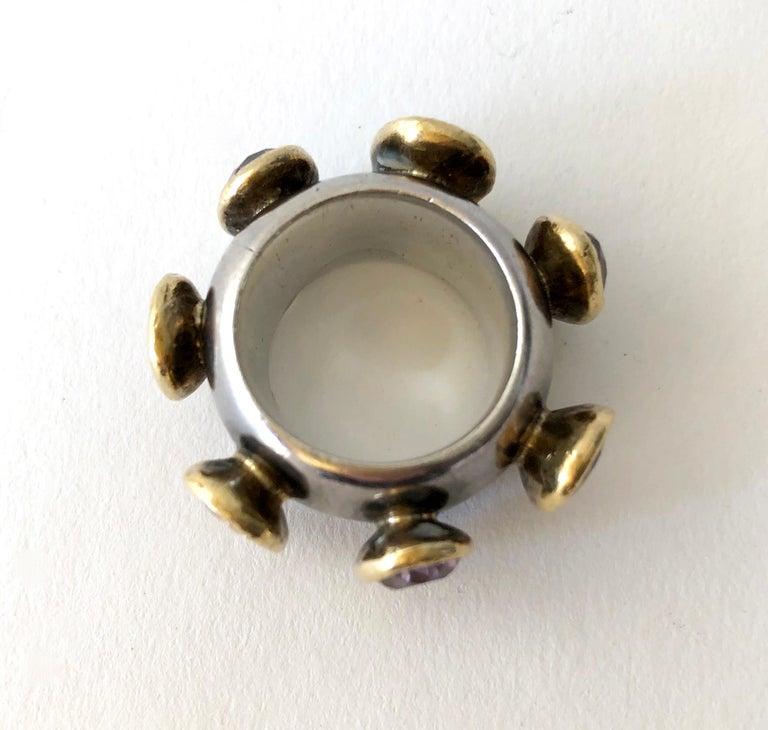 Artisan 1980s Gerda Lyndgaard Monies Amethyst Sterling Silver 23 Karat Danish Gold Ring For Sale