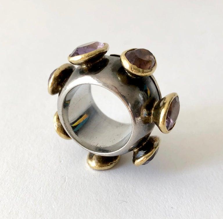 Cushion Cut 1980s Gerda Lyndgaard Monies Amethyst Sterling Silver 23 Karat Danish Gold Ring For Sale