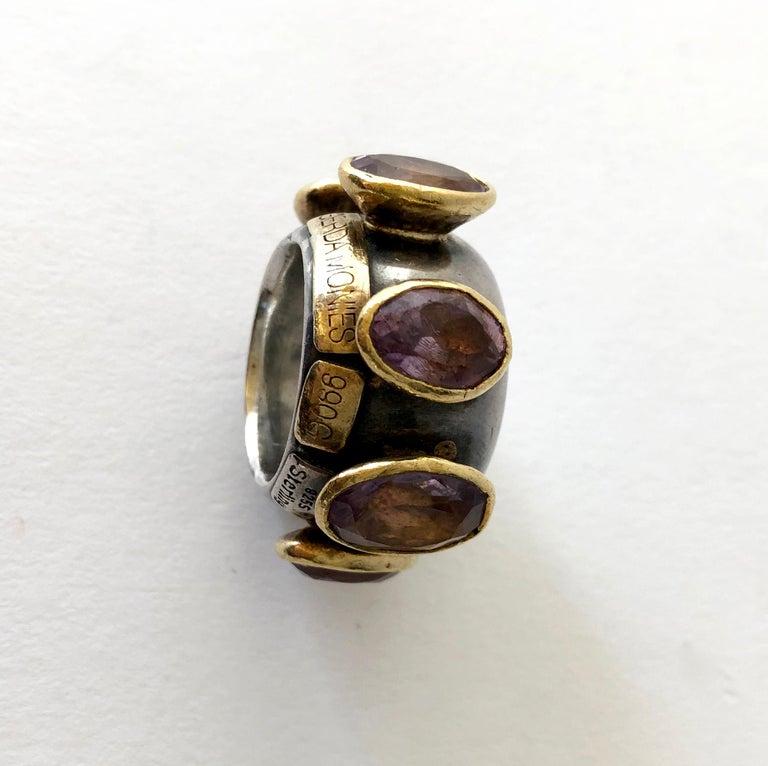 1980s Gerda Lyndgaard Monies Amethyst Sterling Silver 23 Karat Danish Gold Ring In Good Condition For Sale In Los Angeles, CA