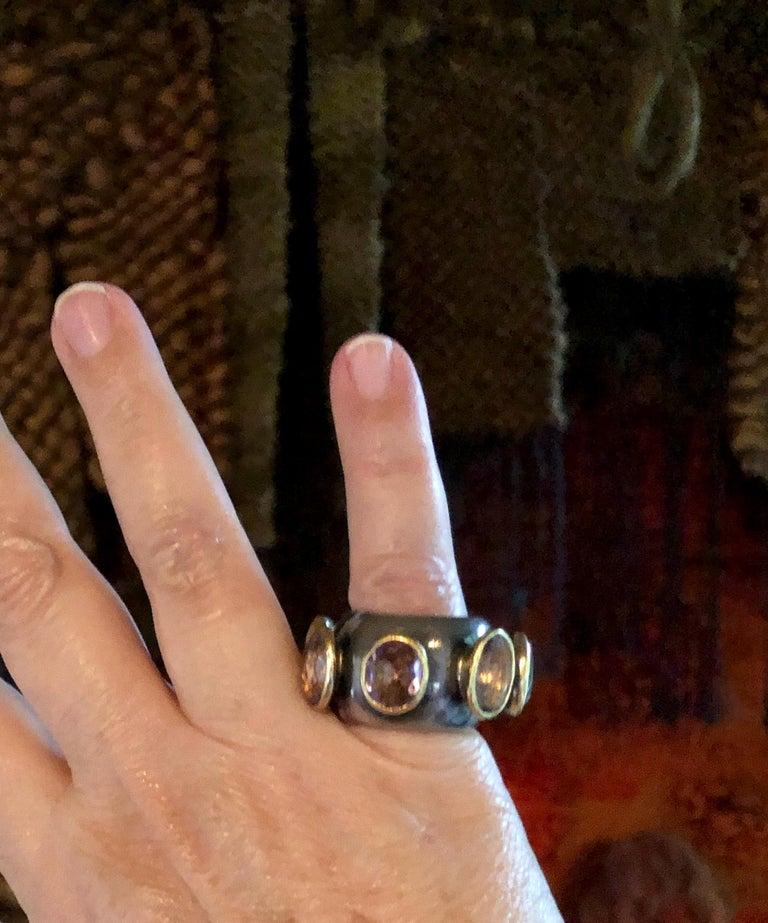 Women's 1980s Gerda Lyndgaard Monies Amethyst Sterling Silver 23 Karat Danish Gold Ring For Sale