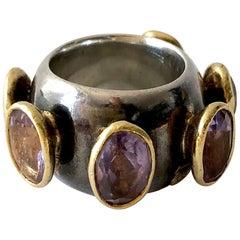 1980s Gerda Lyndgaard Monies Amethyst Sterling Silver 23 Karat Danish Gold Ring