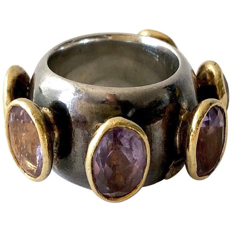 1980s Gerda Lyndgaard Monies Amethyst Sterling Silver 23 Karat Danish Gold Ring For Sale