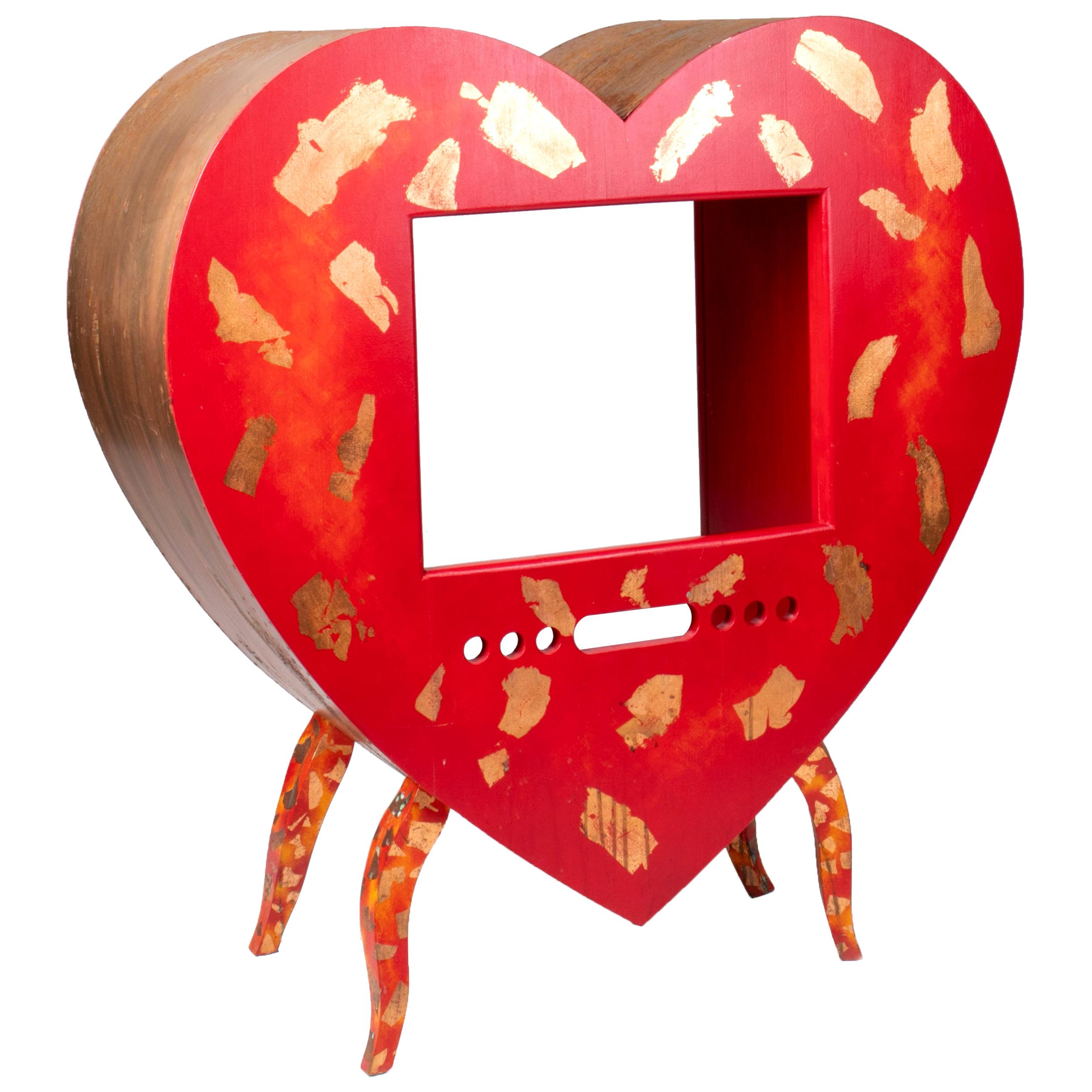 1980s German Abstract Design Heart Shaped Iron TV Cabinet