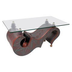 1980s German Abstract Design Iron and Glass Coffee Table