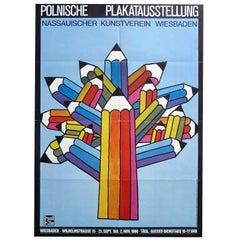 1980s German Polish Poster Exhibition Poster Pencil Pop Art Design