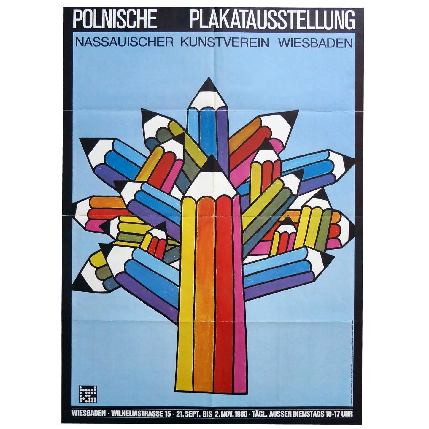 1980s German Polish Poster Exhibition Poster Pencil Pop Art Design