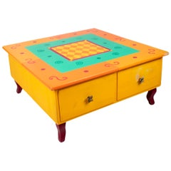 1980s German Yellow Coffee Table with Drawers