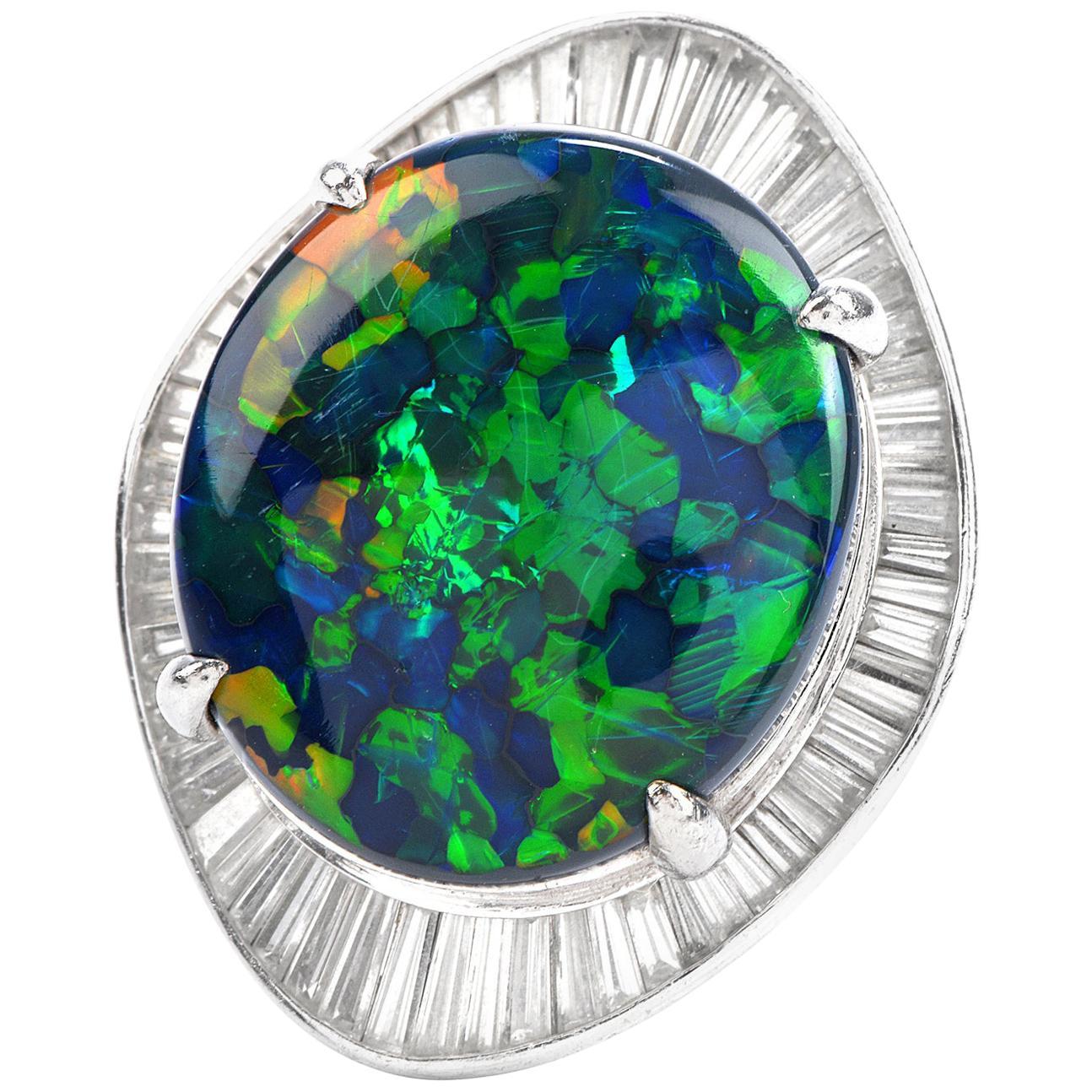 1980s GIA Large Black Opal Diamond Platinum Cocktail Ballerina Ring