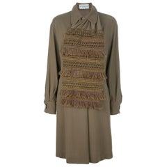 1980s Gianfranco Ferré Kaki Wool Dress