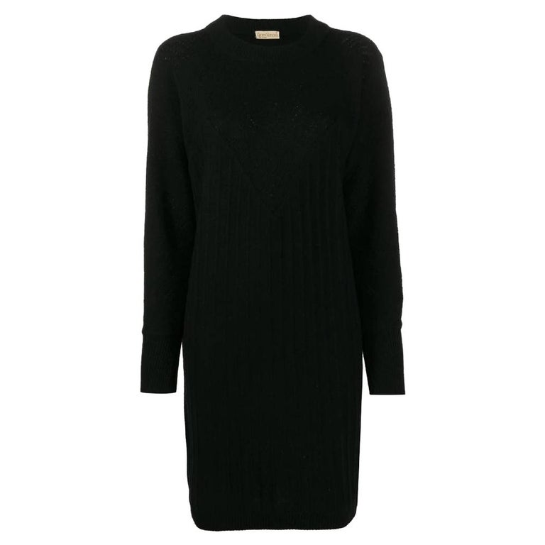 1980s Gianni Versace Black Knitted Dress