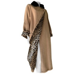 1980s Gianni Versace Camel Cashmere Overcoat W/ Faux Leopard Lining