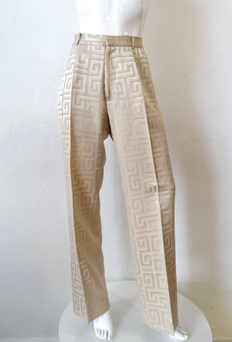 Gianni Versace Couture Silk Greek Key Printed Tan Suit ...