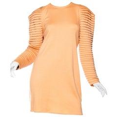 1980s GIANNI VERSACE FOR GENNY Peach Wool Jersey Cozy Long Sleeve Mini Dress
