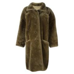 1980s Gianni Versace Military Green Sheepskin Coat